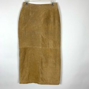 Bagatelle 100% Leather Skirt Tan Suede VTG Size 6